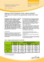 Eurostat - Statistics in Focus: Ageing in the European Union (cover)