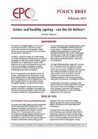 European Policy Centre - Active and Healthy Ageing: Can the EU Deliver? (cover)