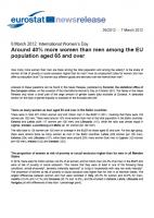 Eurostat - 40% more women than men among the EU population aged 65 (cover)